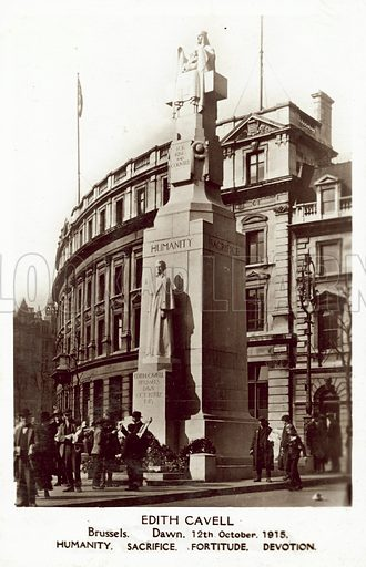 Edith Cavell Monument, London. Postcard, early 20th century.