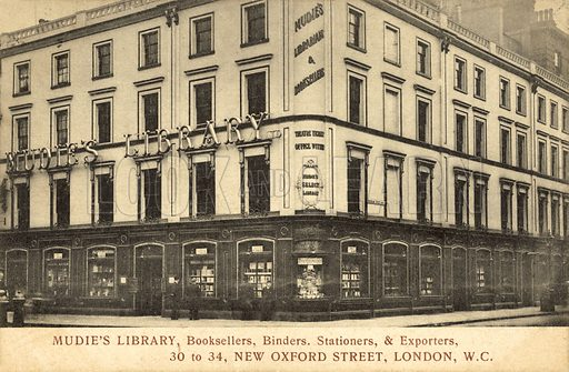 Mudie's Library, Booksellers, Binders, Stationers, Exporters, 30–34 New Oxford Street, London WC Postcard, early 20th century.