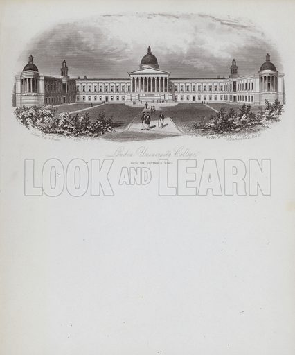 London University College, with intended wings. Illustration on writing paper.