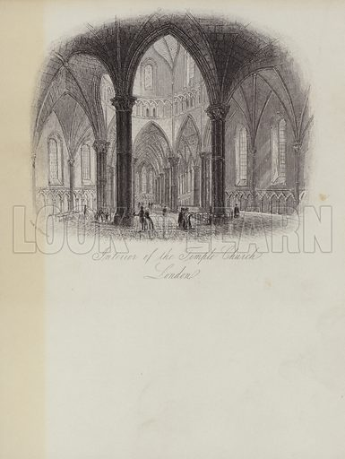The Temple Church, Interior. Illustration on writing paper.