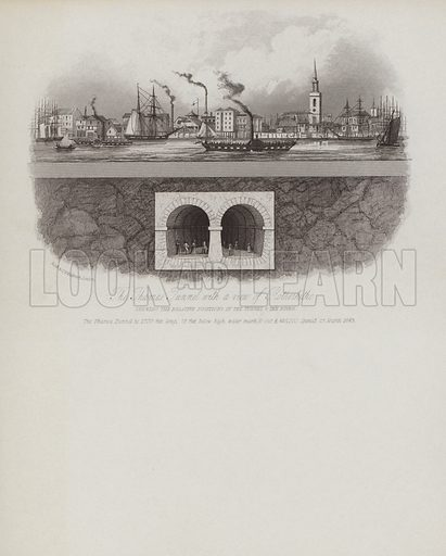 The Thames Tunnel, View of Rotherhithe. Illustration on writing paper.