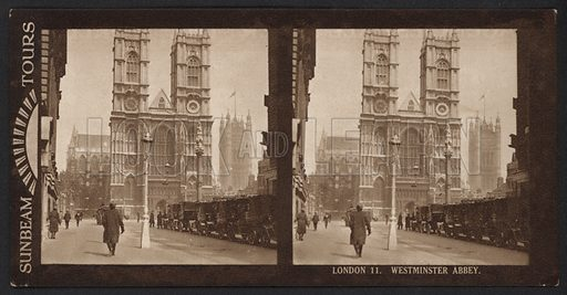 London, Westminster Abbey. Stereographic photograph, very early 20th century.