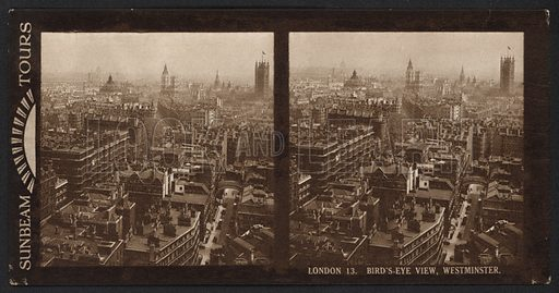 London, Bird's-Eye View, Westminster. Stereographic photograph, very early 20th century.