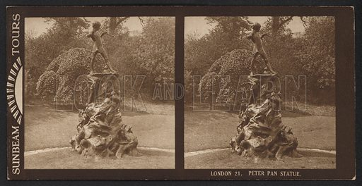 London, Peter Pan Statue. Stereographic photograph, very early 20th century.