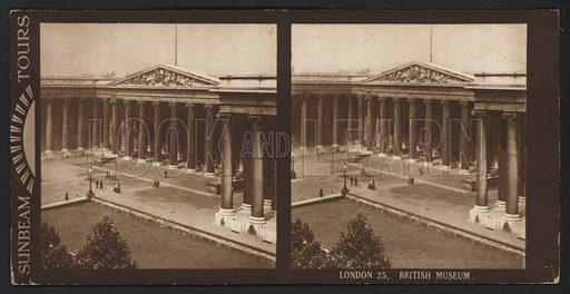 London, British Museum. Stereographic photograph, very early 20th century.