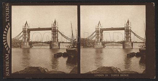 London, Tower Bridge. Stereographic photograph, very early 20th century.