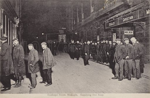 Supplying free soup at midnight, Stanhope Street, London