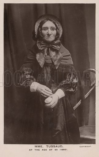 Waxwork of Madame Tussaud at the age of 90, 1850.  Postcard, early 20th Century.