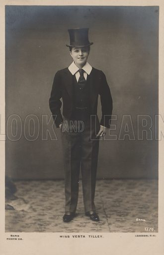 Miss Vesta Tilley dressed as a boy in Eton collar.  Postcard, early 20th Century.