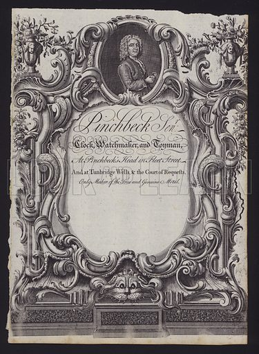 Trade card of Christopher Pinchbeck, London maker of clocks, watches and musical toys