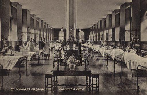 St Thomas's Hospital, Alexandra Ward, London. Postcard, early 20th century.