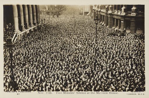 11 November 1919, Two Minutes' Silence, Mansion House.  Postcard, early 20th century.