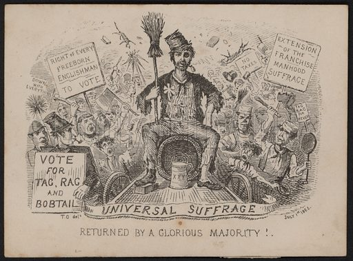 Anti universal suffrage cartoon in the lead up to the 1867 Reform Act which in the end extended the vote only to householders and those paying rent of at least £10 a year. Dated 1 July 1865. Possibly by Thomas Onwhyn,.