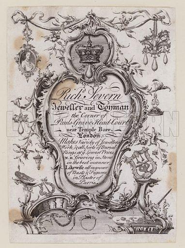 Richard Severn, Jeweller and Toyman, Temple Bar, London, trade card, 18th Century