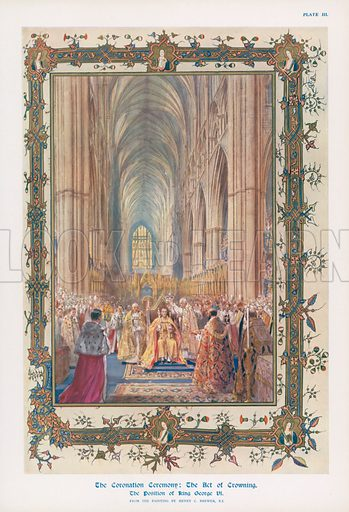 The act of crowning during the ceremony of the Coronation of King George VI in Westminster Abbey, London. Illustration for Coronation Record Number published by Illustrated London News (1937).