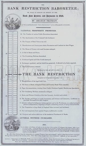 The Bank Restriction Barometer - a chart showing the effects of the bank note system compared to payments in gold.