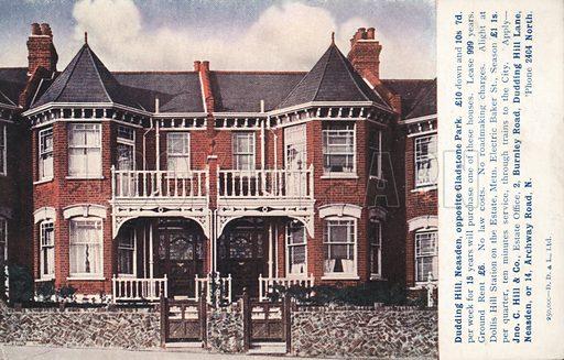 Property advertisement for houses in Dudding Hill, Neasden, opposite Gladstone Park, London.