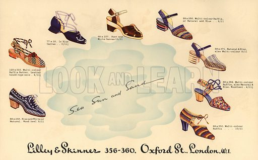 Lilley and Skinner advertisement for women's sandals and shoes.