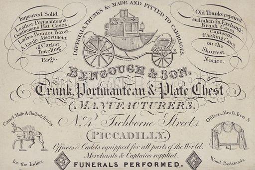 Advertisement for Bencough & Son, trunk, portmanteau and plate chest manufacturers, London.