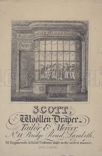 Advertisement for Scott, woollen draper, tailor and mercer, Lambeth, London.