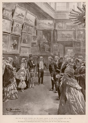 Visit of Queen Victoria and Albert, Prince Consort to the Royal Academy, London, 3 May 1849. Illustration from The Illustrated London News Record of the Glorious Reign of Queen Victoria, 1837–1901, the Life and Accession of King Edward VII and the Life of Queen Alexandra (London, 1901).