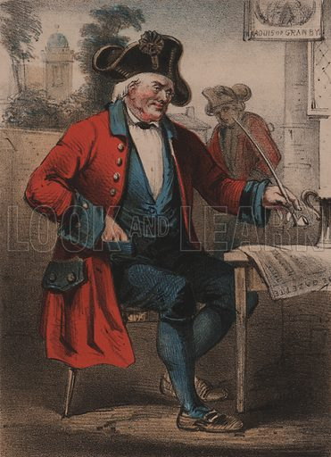 Chelsea Pensioner, The Life of a Soldier.  Detail of music cover, 19th century.