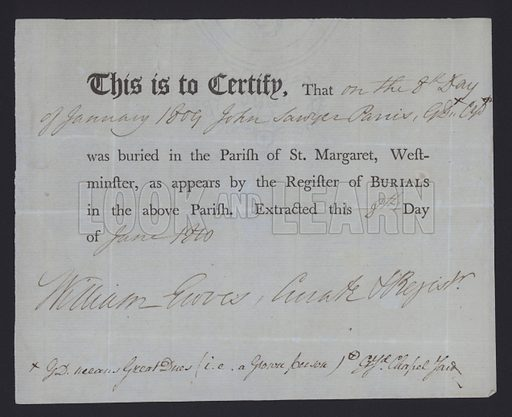 Burial certificate for the parish of St Margaret, Westminster, London, 1809.