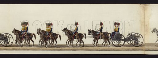 Part of the Panoramic View of the Entire Funeral Procession of Arthur, Duke of Wellington, published in 1853. The funeral of Arthur Wellesley, 1st Duke of Wellington, took place on 18 November 1852. Note: Panorama consists of 55 parts. See other images.
