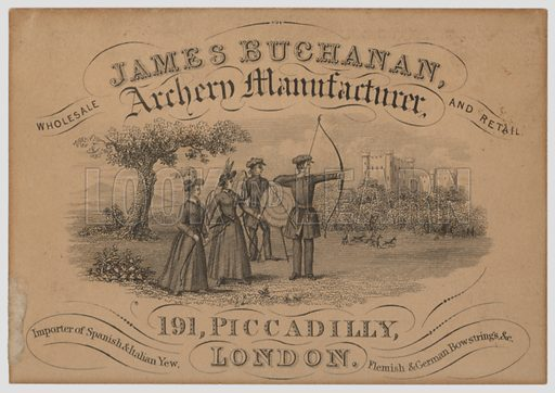 Trade card for James Buchanan, manufacturer of archery equipment, Piccadilly, London.
