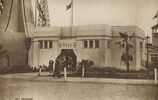 Fiji Pavilion. Postcard for British Empire Exhibition, 1924–1925, at Wembley Park.