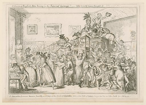 A scene at the London Museum Piccadilly, or a peek at the spoils of ambition, taken at the Battle of Waterloo, being a new tax on John Bull for 1816 etc. Published 1835.