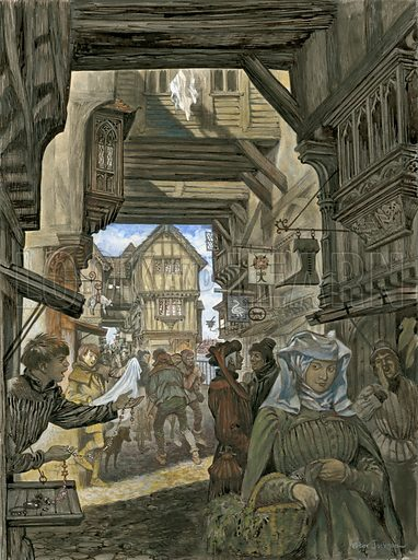 Shopping on London Bridge, picture, image, illustration