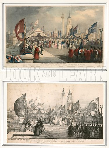 The Ceremony of Opening London Bridge 1 August 1831.  Colour and black and white versions of same print.
