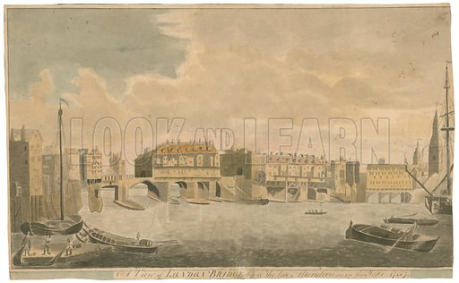 A view of Old London Bridge before alterations, as in 1757