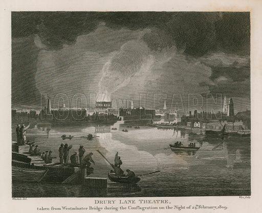 Destruction of Drury Lane Theatre, 24 February 1809.