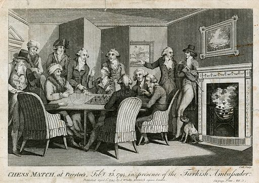 Chess match at Parsloe's, 23 February 1794, in the presence of the Turkish ambassador. Published 1 April 1794.