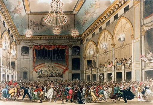 Pantheon Masquerade in 1809. From Ackerman's Microcosm. [Original colours digitally restored].