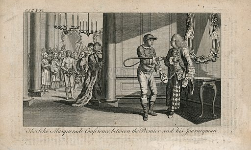 The Soho Masquerade Conference between the Premier and his Journeyman. Lord Shelburne (as a Turk), the Duke of Grafton (jockey) and the Prime Minister (Harlequin) in a side room of Carlisle House during the masquerade held on 16 February 1770.