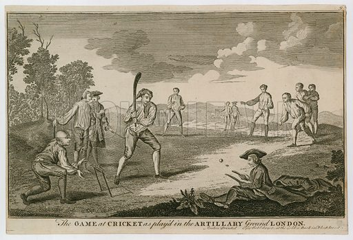 The game at Cricket as played in the Artillery Ground, Finsbury. Based on a lost painting by Francis Hayman to decorate a supper box at Vauxhall Gardens. Hogarth as wicket keeper.