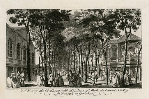 A view of the orchestra with the band of music, the Grand Walk etc in Marylebone Gardens. Published 1761.