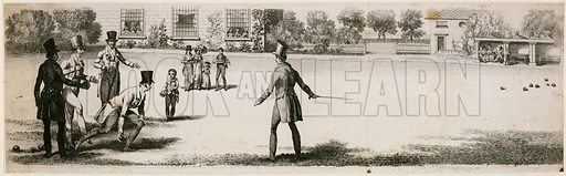 Bowls being played during the Regency at an unidentified pleasure garden.