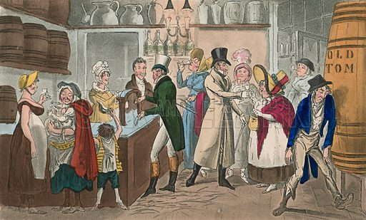 Tom and Jerry taking Blue Ruim after the spell is broke up. From Pierce Egan's Life in London, 1821. Original colours digitally restored.