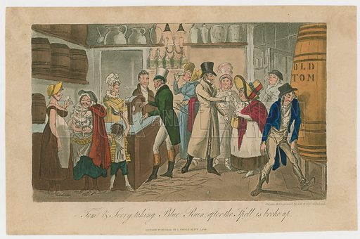 Tom and Jerry taking Blue Ruim after the spell is broke up. From Pierce Egan's Life in London, 1821.