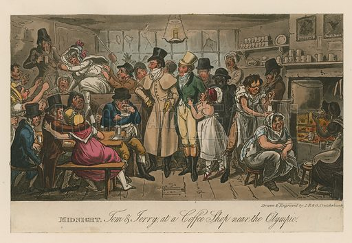 Midnight. Tom and Jerry at a coffee shop near the Olympic. From Pierce Egan's Life in London, 1821.