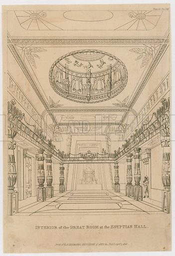 Interior of the Great Room at the Egyptian Hall, Piccadilly. Published 1819.