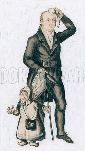 William Bullock, naturalist, traveller and showman, with a little Laplander. Background painted out.
