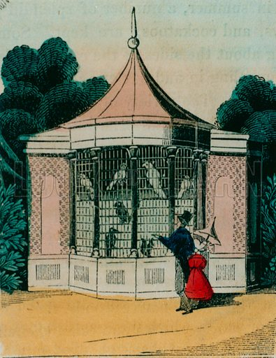 Aviary for parrots and cockatoos at the London zoo. 1840s.
