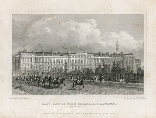 East side of Park Square, and Diorama, Regent's Park, London. Published 1829.