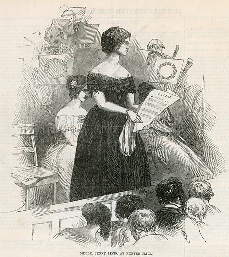 Jenny Lind at Exeter Hall. From the Illustrated London News 23 December 1848.