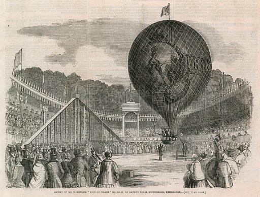 "Ascent of Mr Hampton's ""Erin-go-nragh"" balloon, at Batty's Royal Hippodrome, Kensington. Date 7 June 1851. Probably Illustrated London News."